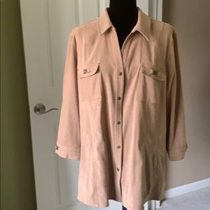 JM Collection Fayx Suede snap Front Jacket Size XL